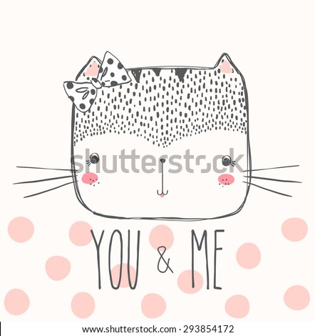 cute cat illustration for apparel or other uses,in vector.  - stock vector