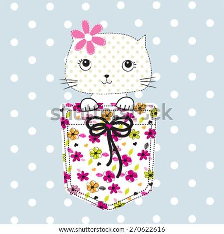 cute cat in the pocket, T-shirt design vector illustration - stock vector