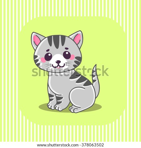 Cute cat, Little tiny gray striped kitten sitting. Characters. The concept of children's and educational books. Vector Illustration. - stock vector