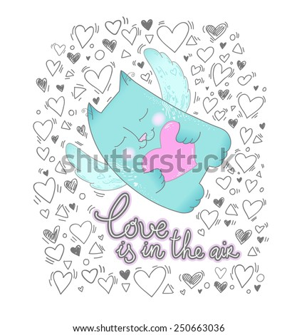 Cute cat. Love is in the air. Text message. Decorative hearts set. Valentines day background. Vector illustration. Love concept.  - stock vector