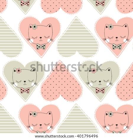 cute cat pattern background vector illustration - stock vector