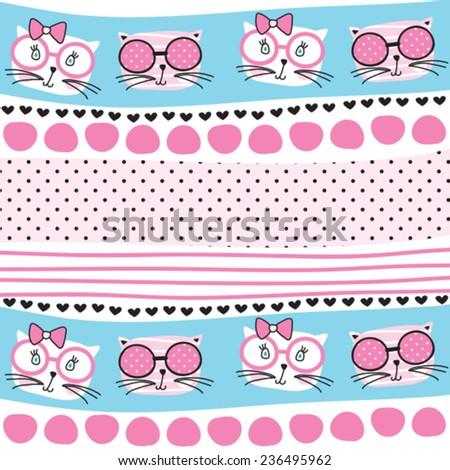 cute cat pattern vector illustration - stock vector