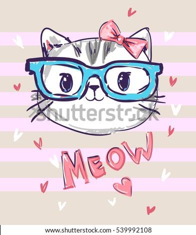 Cute Cat Sketch Vector Illustration Print Stock Vector