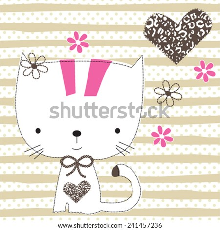 cute cat T-shirt graphics striped background vector illustration - stock vector