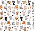 Cute Cat Themed Seamless Background - stock vector