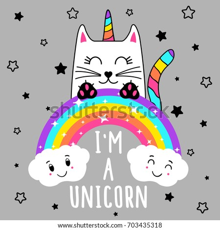 Cute Cat Unicorn Cute Graphics Tshirts Stock Vector
