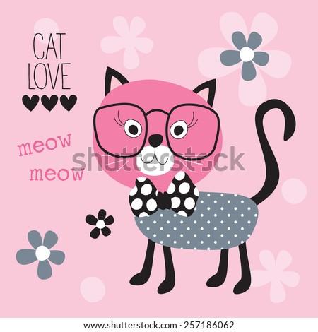 cute cat vector illustration - stock vector