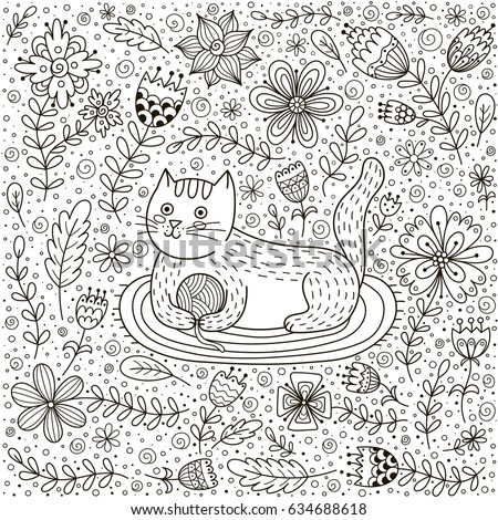Cute Cat Ball Yarn Doodle Flowers Stock Vector 634688618 - Shutterstock