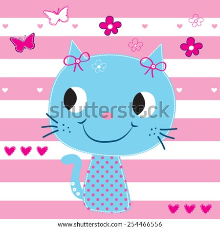 cute cat with butterfly on striped background vector illustration - stock vector
