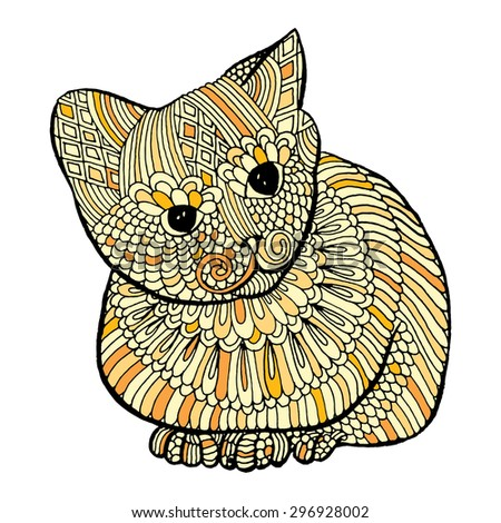Cute cat with embroidery decoration  - stock vector