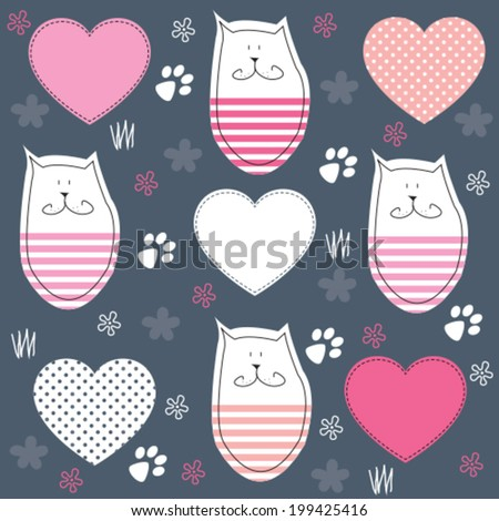 cute cat with paw print vector illustration - stock vector