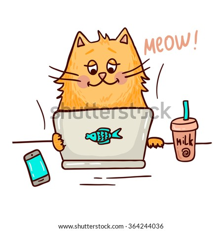 Cute cat working on notebook with milk and smart phone. - stock vector