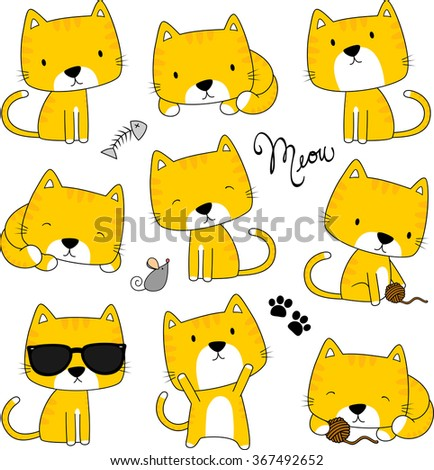cute cats and design elements isolated on white background - stock vector