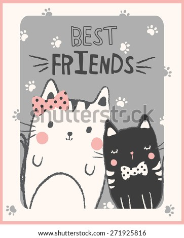 Cute cats illustration for apparel or other uses,in vector. - stock vector