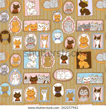 cute cats retro portraits seamless pattern. vintage vector background - stock vector