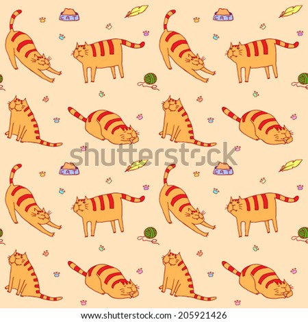 Cute cats seamless vector pattern. Funny cartoon background. - stock vector