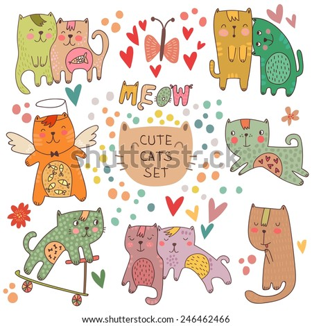 Cute cats set in cartoon style. Childish vector illustration - stock vector