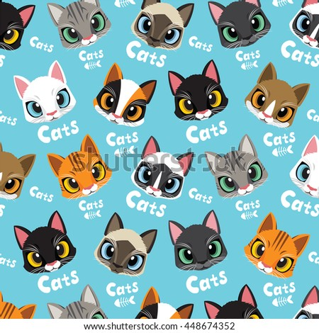 cute cats fishbone vector pattern illustrations stock