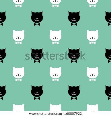 Cute cats. Vector seamless pattern - stock vector