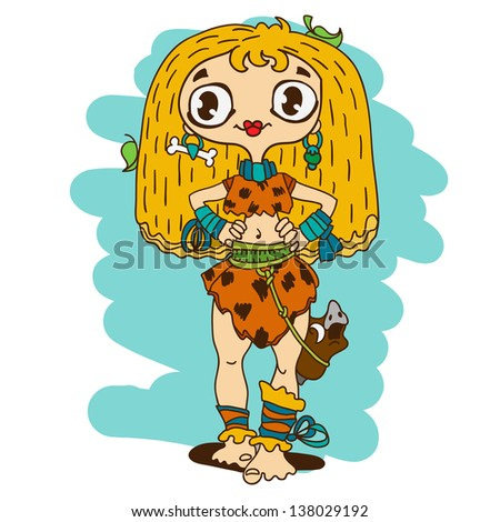 Cute caveman girl with boar's head on a belt - stock vector