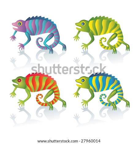 Cute chameleon - stock vector