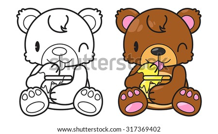 cute character bear enjoy eating honey and black line, vector illustration - stock vector