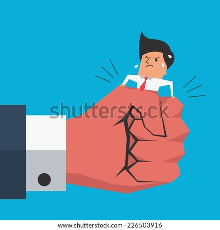 Cute character businessman being squeezing by big business hand. Business concept in trouble or danger situation.  - stock vector
