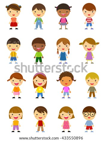 Cute character set of kids