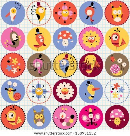 cute characters pattern - stock vector