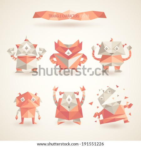 cute characters robot set origami by triangles, polygon vector illustration - stock vector