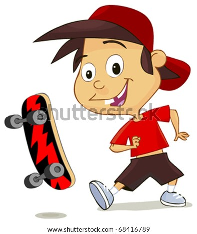 cute cheerful boy playing with his skate isolated on white - stock vector