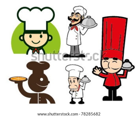 Cute Chef Character Vector Full Set - stock vector