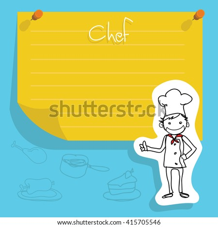 cute Chef (kids doodles) with yellow paper background