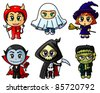Cute chibi halloween characters set - stock vector