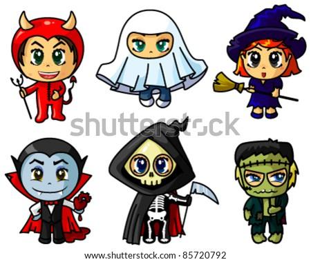 Cute chibi halloween characters set - stock vector
