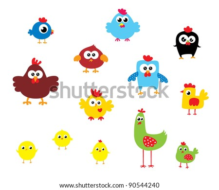 cute chicken collection - stock vector