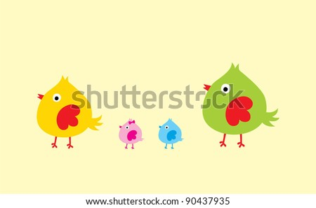 cute chicken family - stock vector
