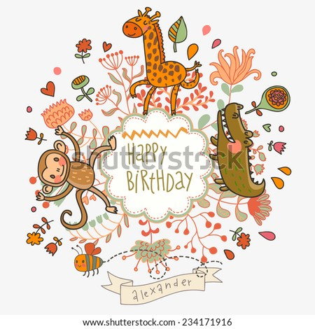 Cute childish card with Crocodile, Monkey and Giraffe in vector. Happy birthday invitation background in bright colors - stock vector