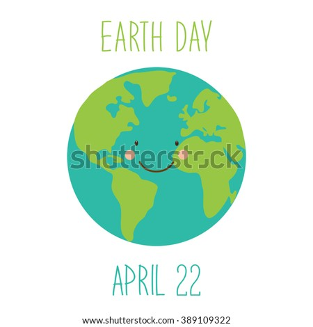 Cute childish Earth Day background with funny smiling cartoon character of planet Earth