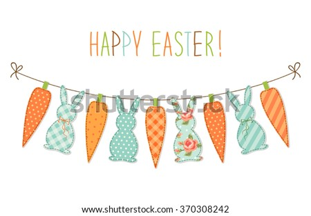 Cute childish Easter bunting with bunnies and carrots and hand written text Happy Easter for your decoration - stock vector