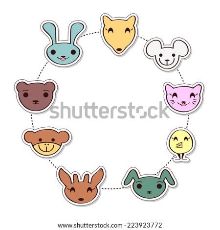 Cute childish frame with cartoon animal faces - stock vector