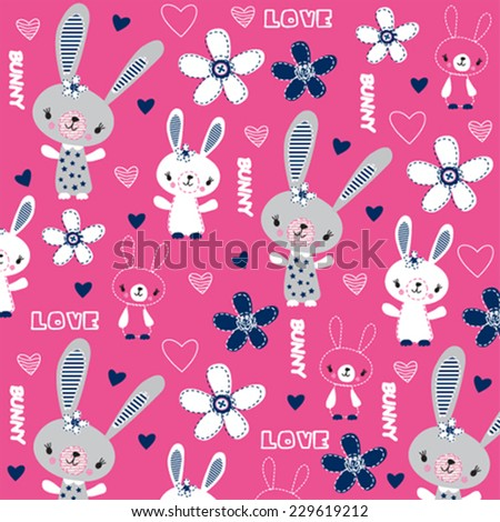 cute childish pattern with bunny and flowers vector illustration - stock vector