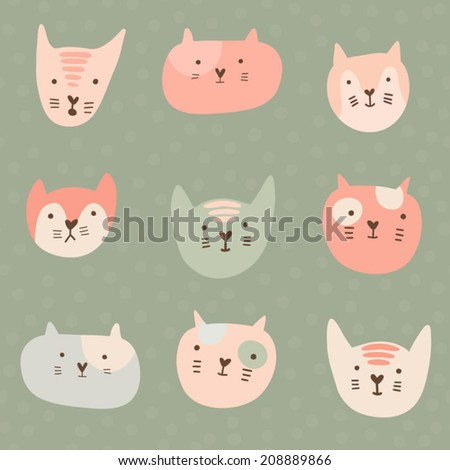 Cute childish pattern with cartoon cats. Seamless pattern with cute hand drawn cats  - stock vector