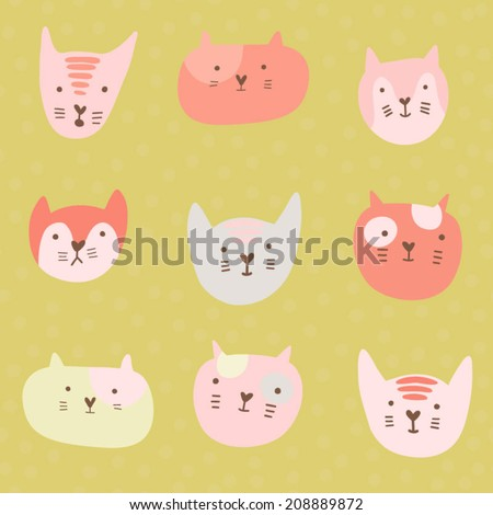 Cute childish pattern with cartoon cats. Seamless pattern with cute hand drawn cats  - stock vector