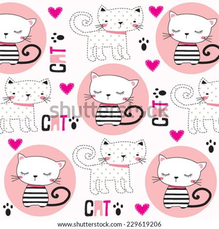 cute childish pattern with cats vector illustration - stock vector