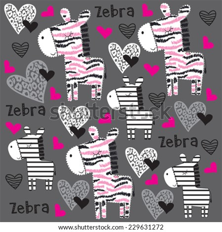 cute childish pattern with zebra and heart vector illustration - stock vector