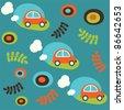 cute childlike pattern. vector illustration - stock vector