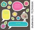 cute childlike stickers. vector illustration - stock vector