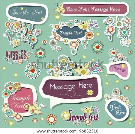 cute childlike stickers. vector illustration - stock vector