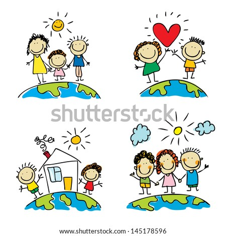Cute children and family set around the World Vector people. Doodle people. Cartoon people - stock vector